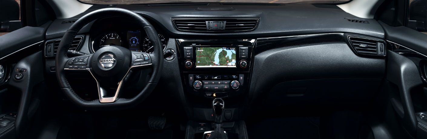 A photo of the dashboard used by the 2020 Nissan Rogue Sport.