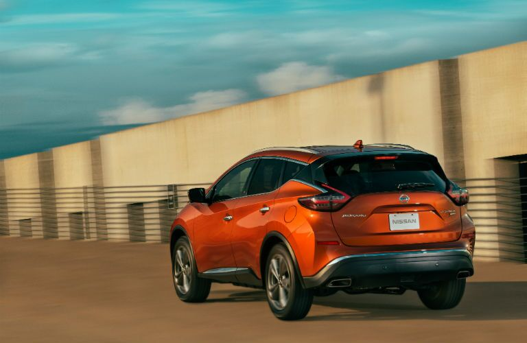 A rear right quarter photo of the 2020 Nissan Murano.
