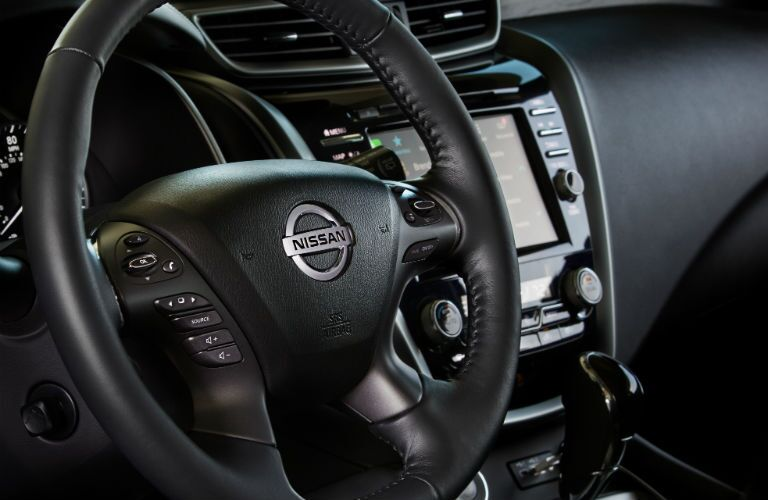 A photo of the steering wheel used in the 2020 Murano.