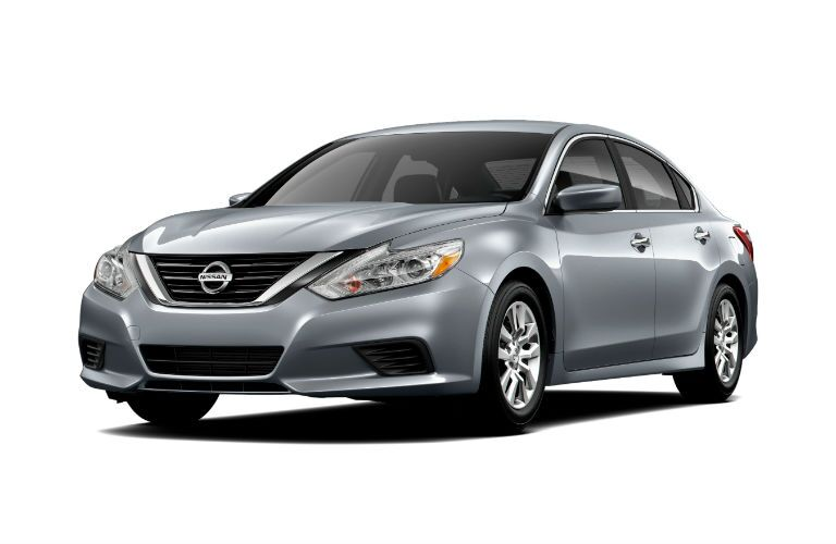 silver 2018 nissan altima against white background