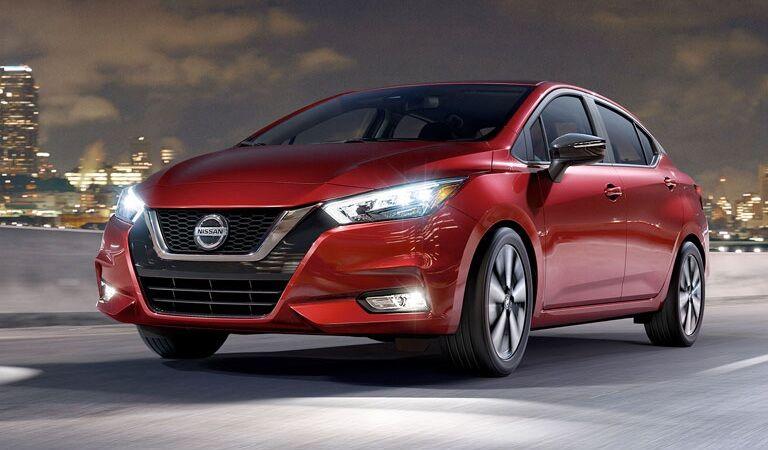 2020 Nissan Versa sedan red front view