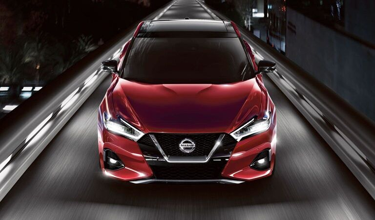 2020 Nissan Maxima red front view