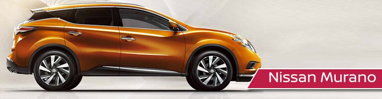 orange Nissan Murano with banner in bottom right corner
