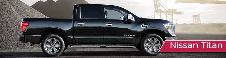 black 2019 Nissan Titan with banner in bottom right corner