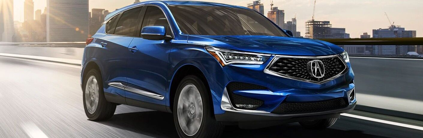 Exterior view of a blue 2020 Acura RDX
