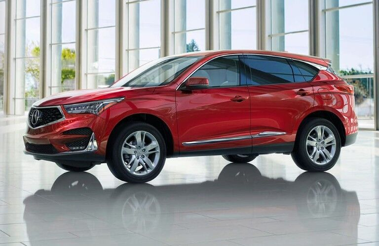 Exterior view of the front of a red 2020 Acura RDX