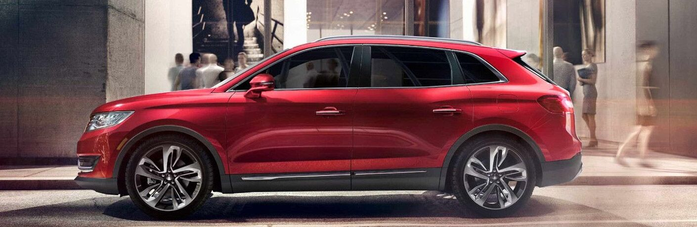 Side profile of red Lincoln MKX