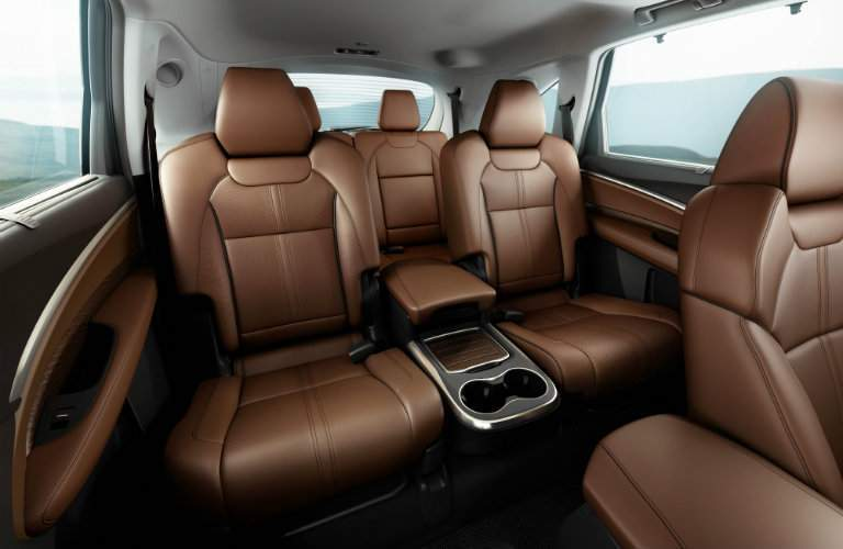 second and third row seating in 2018 Acura MDX with light brown material