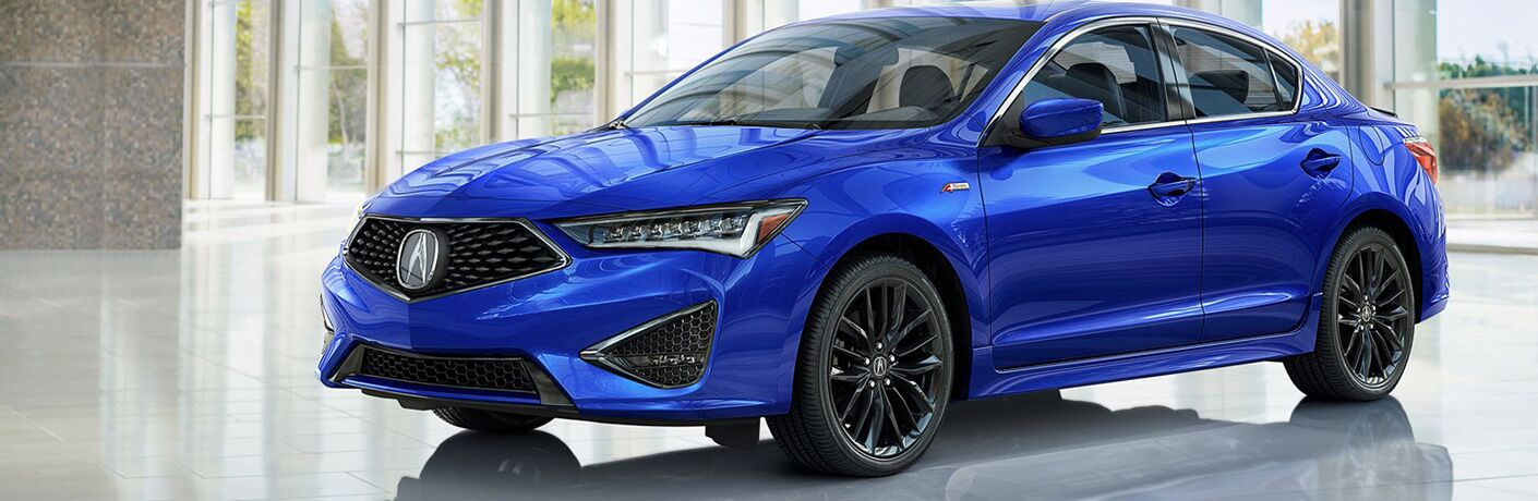 Blue 2019 Acura ILX in a Dealership Showroom