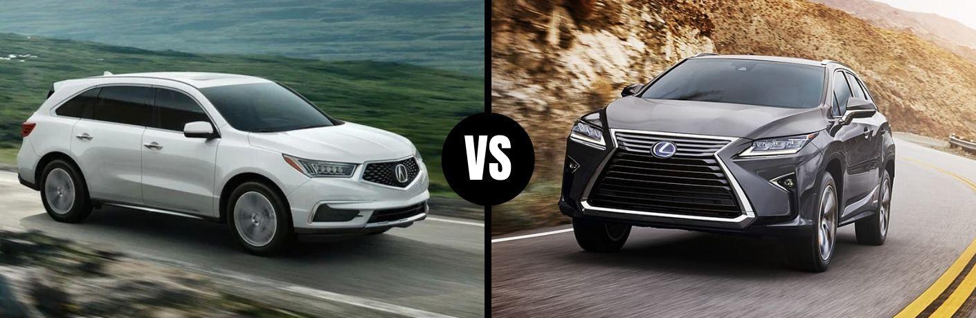Comparison image of a white 2019 Acura MDX and a gray 2019 Lexus RX 350L