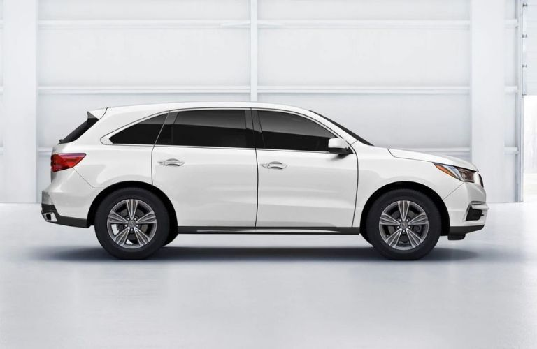Exterior view of a white 2019 Acura MDX