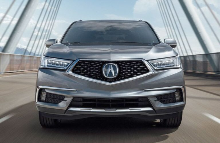 front view of silver 2019 Acura MDX on a bridge