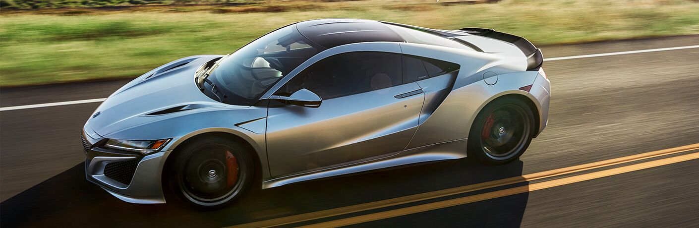 Exterior view of a silver 2019 NSX