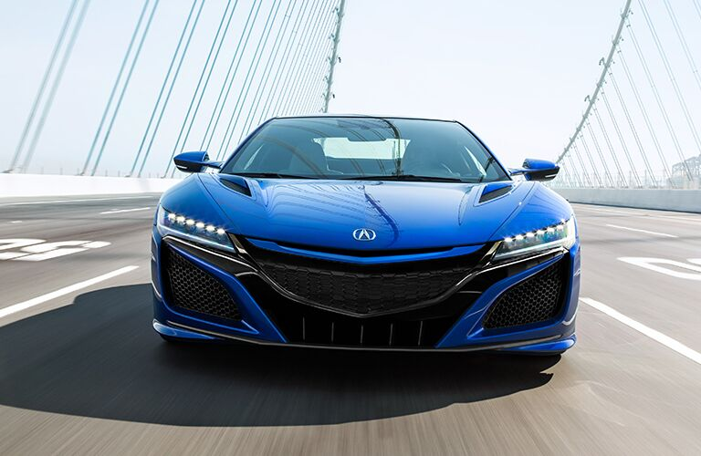 Exterior view of the front of a blue 2019 Acura NSX
