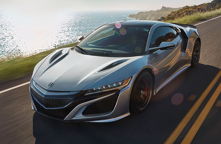 Exterior view of the front of a silver 2019 Acura NSX