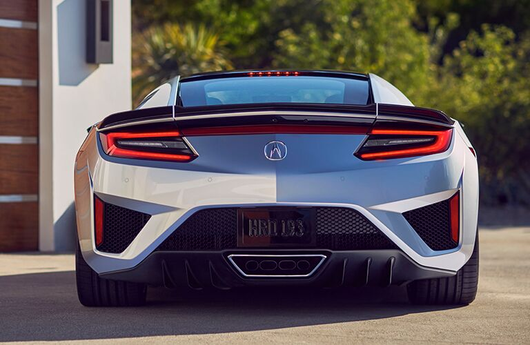 Exterior view of the rear of a silver 2019 Acura NSX