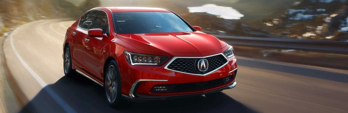 Exterior view of a red 2019 Acura RLX Sport Hybrid