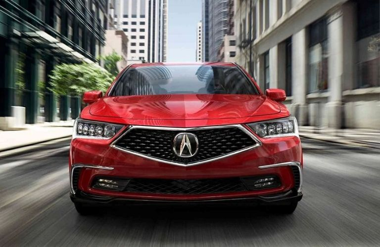 Exterior view of the front of a red 2019 Acura RLX Sport Hybrid