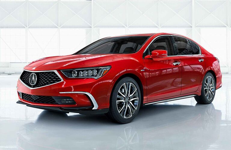 Red 2019 Acura RLX parked in white room