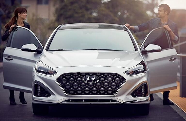 Silver 2019 Hyundai Sonata on a City Street
