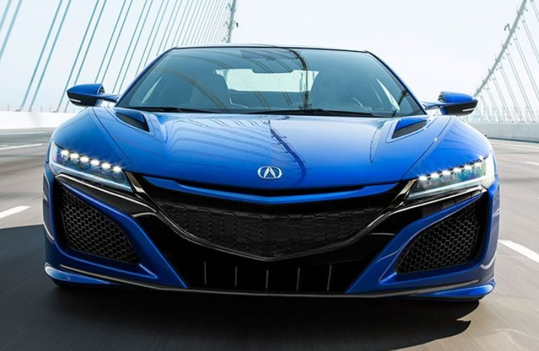 Exterior view of the front of a blue 2020 Acura NSX