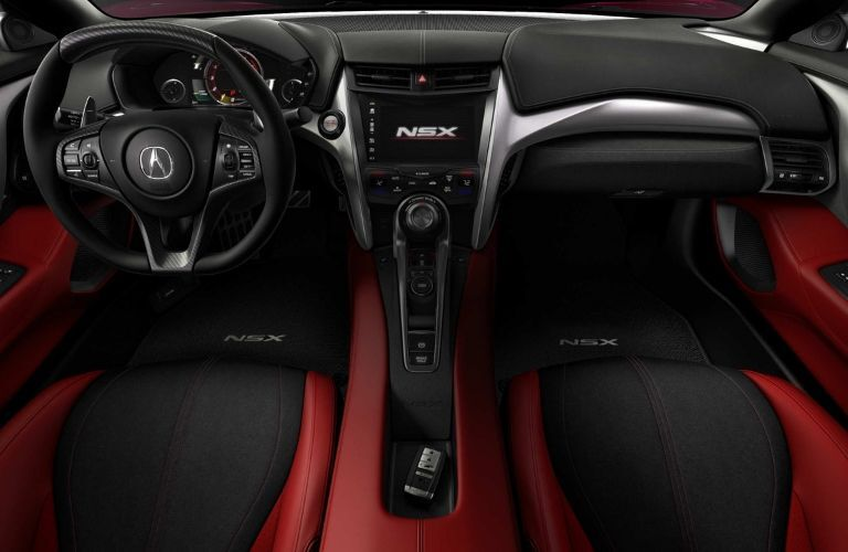 Interior view of the front seating area inside a 2020 Acura NSX