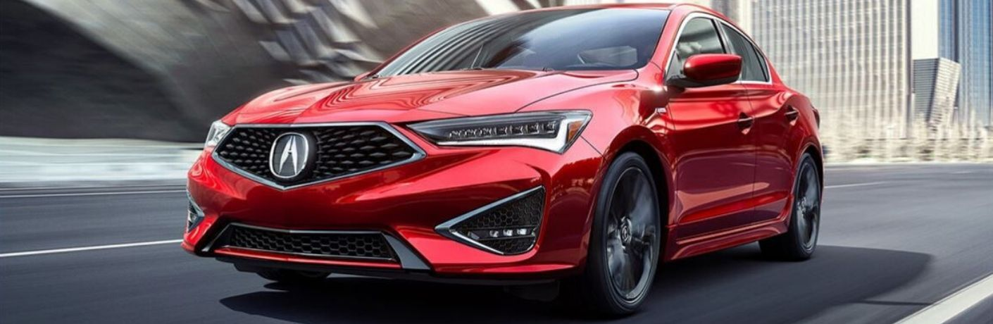 Exterior view of a red 2020 Acura ILX