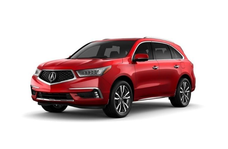 Exterior view of a red 2020 Acura MDX Advance Package