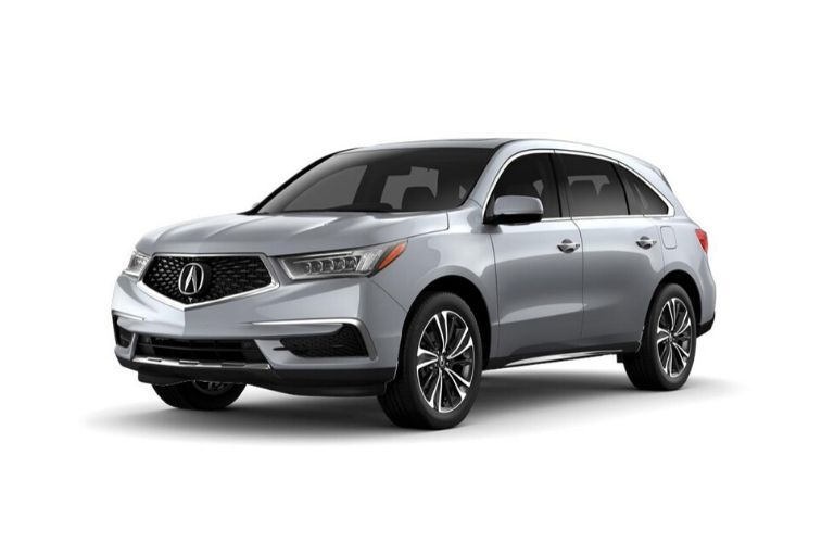 Exterior view of a silver 2020 Acura MDX Entertainment Package