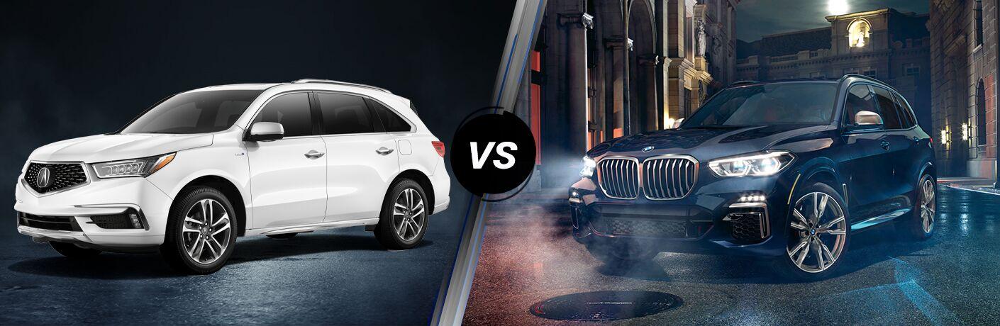 White 2020 Acura MDX, VS icon, and blue 2020 BMW X5