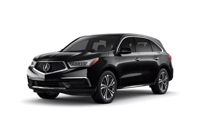 Exterior view of a black 2020 Acura MDX Technology Package