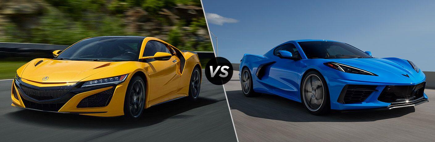 Yellow 2020 Acura NSX, VS icon, and blue 2020 Chevrolet Corvette Stingray