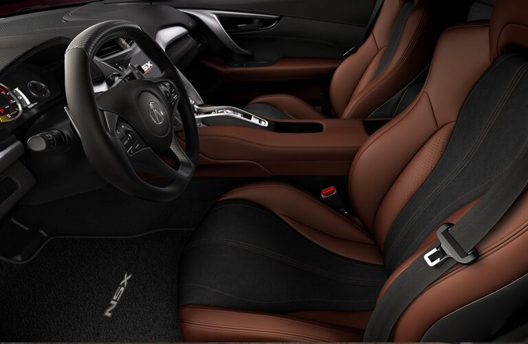 Brown and black seats in 2020 Acura NSX
