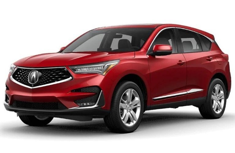 Exterior view of a red 2020 Acura RDX Advance Package