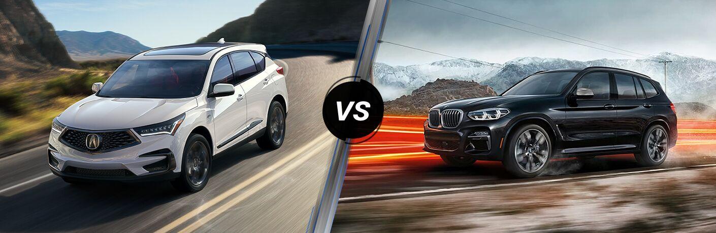 White 2020 Acura RDX, VS icon, and black 2020 BMW X3
