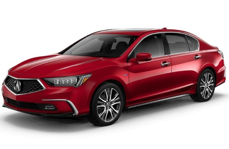 Exterior view of a red 2020 Acura RLX Advance Package