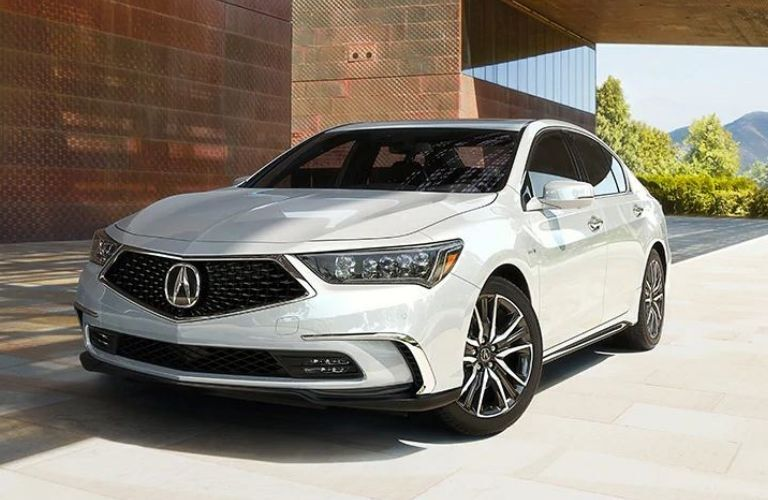Exterior view of the front of a white 2020 Acura RLX