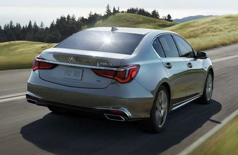 Exterior view of the rear of a gray 2020 Acura RLX
