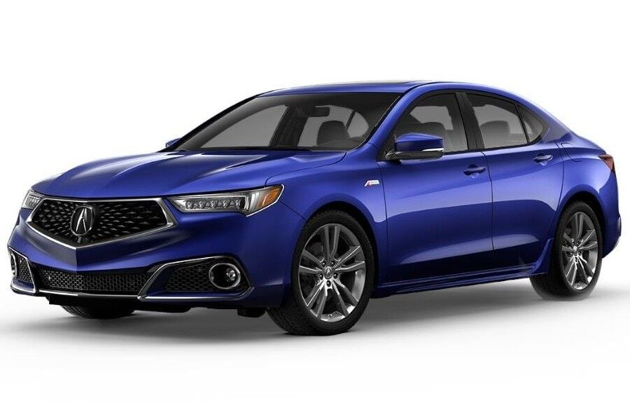 Exterior view of a blue 2020 Acura TLX with A-Spec® Package