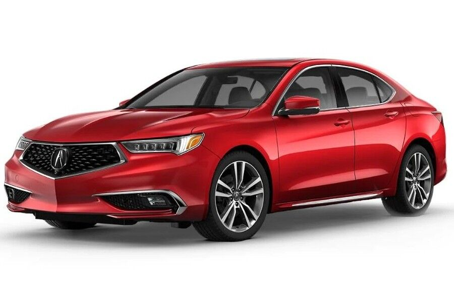 Exterior view of a red 2020 Acura TLX with Advance Package