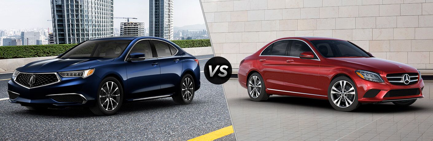 Blue 2020 Acura TLX, VS icon, and red 2020 Mercedes Benz C-Class