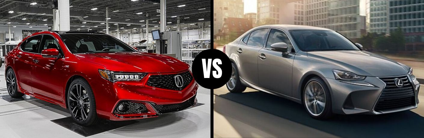 Comparison image of a red 2020 Acura TLX and a silver 2020 Lexus IS 300