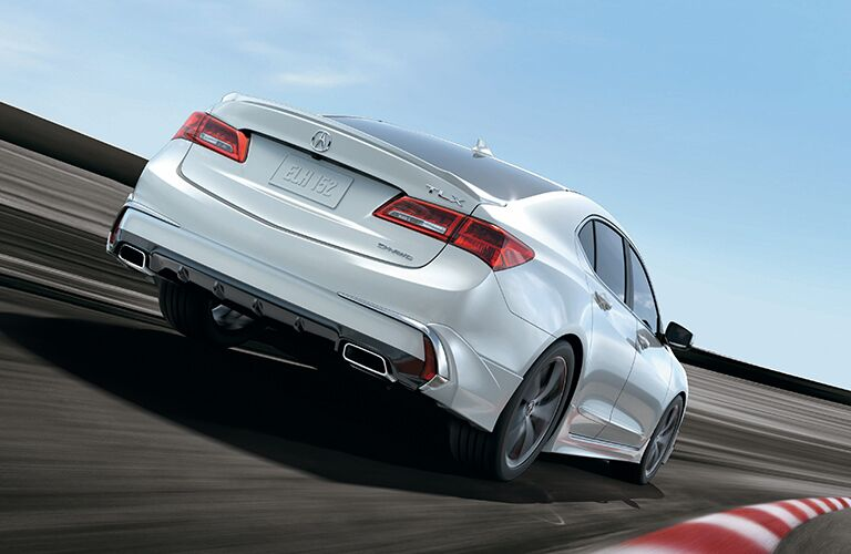 Passenger's side rear angle view of white 2020 Acura TLX