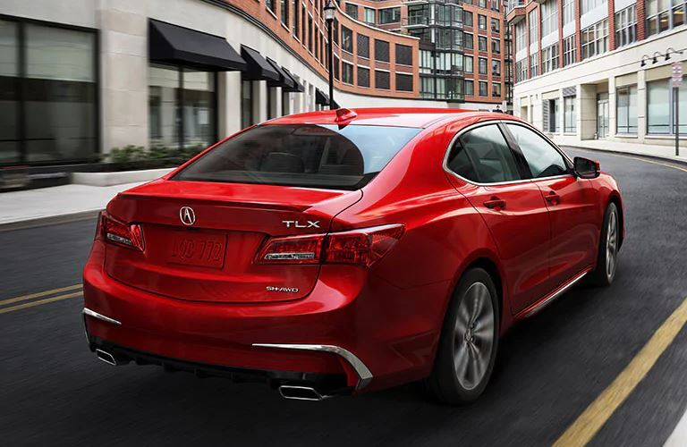 Exterior view of the rear of a red 2020 Acura TLX