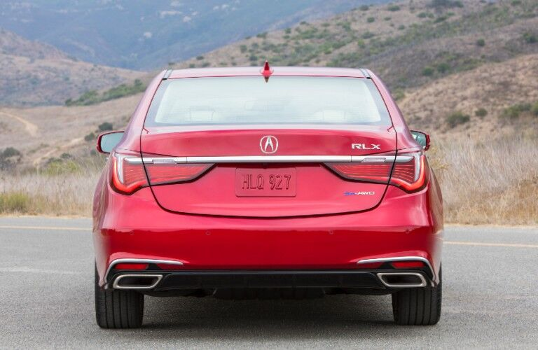 Rear view of red 2020 Acura RLX Sport Hybrid