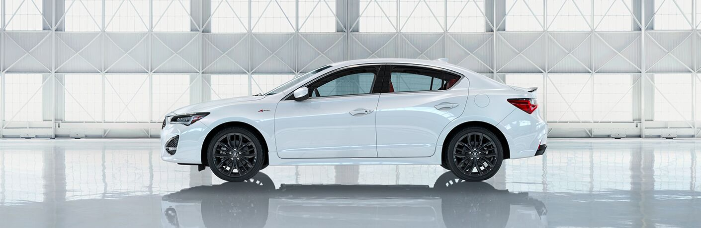 White 2021 Acura ILX A-Spec Side Exterior in a Warehouse