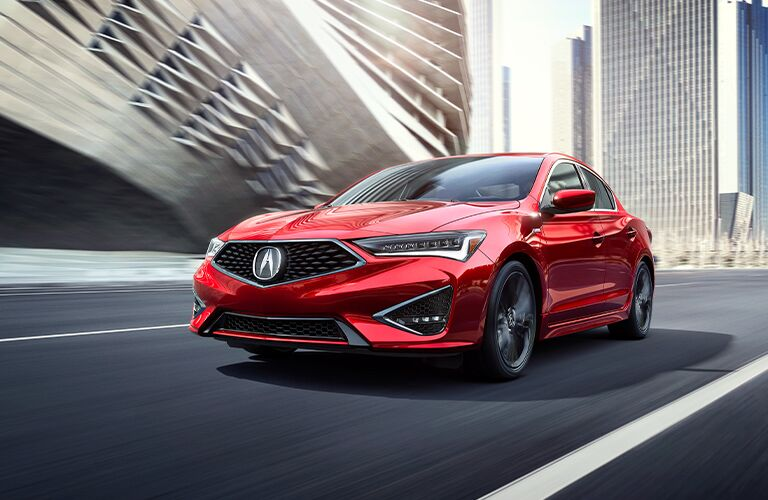 Red 2021 Acura ILX Front Exterior on a City Street