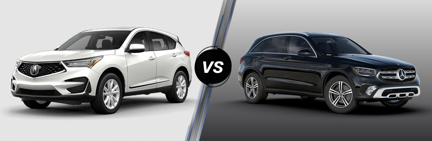 White 2021 Acura RDX, VS icon, and black 2020 Mercedes-Benz GLC