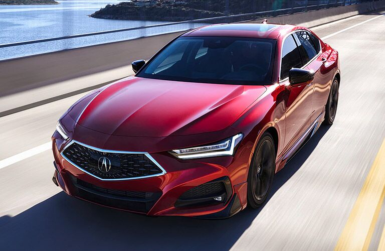 Red 2021 Acura TLX Front Exterior on a Bridge