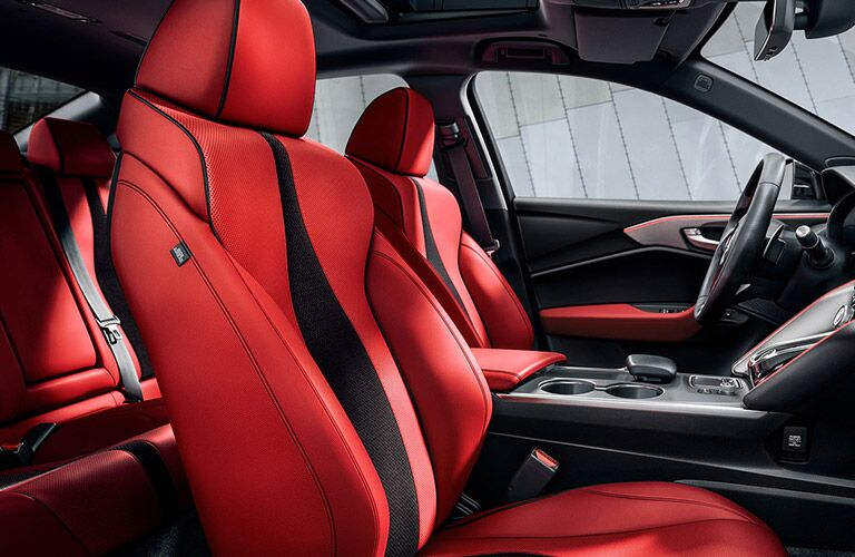 Red and black front seats in 2021 Acura TLX